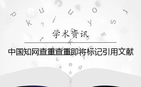 中国知网查重查重即将标记引用文献