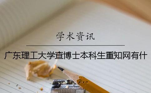 广东理工大学查博士本科生重知网有什么软件
